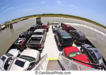 A cars on a ferry top view
