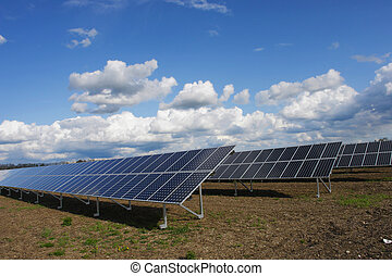 solar plant - solar collector energy plant outside against...