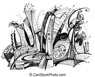structure Abstract drawing - Abstract drawing black ink with...