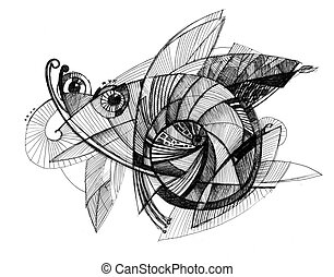 Abstract drawing - fly - Abstract drawing black ink with...