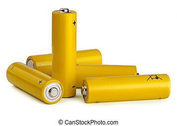 Batteries - Group of yellow AA size batteries isolated on...
