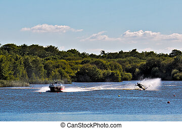 Water skiing at Wiremill Lake East Grinstead