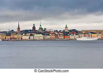 view on Gamla Stan, Stockholm, Sweden - view on Gamla Stan,...
