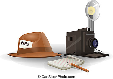 Isolated paparazzi equipment - Vintage paparazzi hat camera...