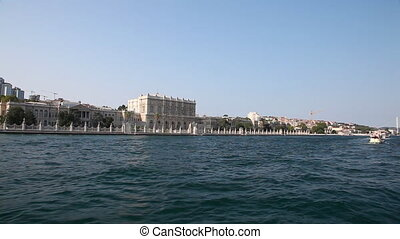 Travel along Dolmabahce Palace - View from the boat, Turkey,...