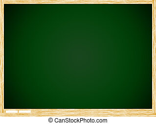 Empty Green board with wooden frame isolate on white...