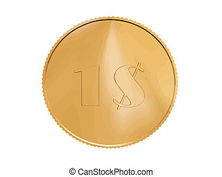 gold 1$ coin on white - gold 1$ coin vector on white