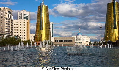 City landscape - Golden towers and fountain Astana,...