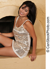 Sequins - Pretty young Laotian woman in a sequined dress