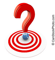 3d question mark on target