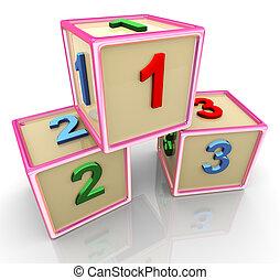 3d colorful 123 cubes