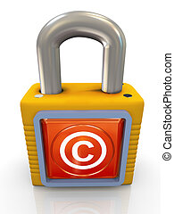 3d copyright padlock - 3d render of copyright padlock