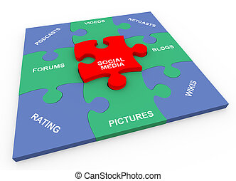 3d social media solved puzzle