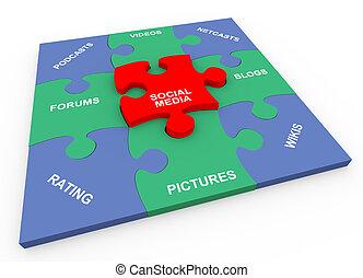 3d social media solved puzzle - 3d render of solved social...