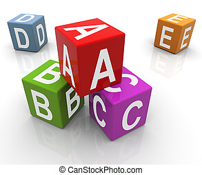 3d colorful abc boxes - 3d reflective colorful abc boxes