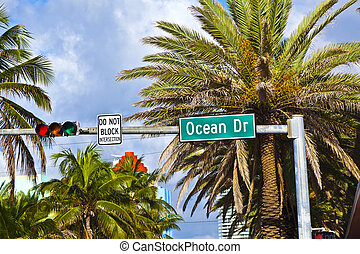 street sign ocean drive of famous South Miami Art deco alley...