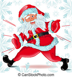 Santa Claus runs and Winks. The Illustration in format...