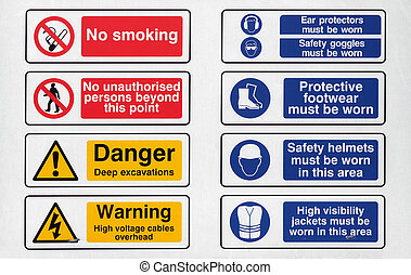 A sign - A construction site sign - no smoking, unauthorised...