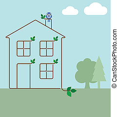 Green ecology house concept isolated on white background
