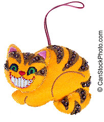 Cheshire Cat Smile Christmas Ornament Isolated on White...