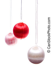Vintage Christmas Balls Striped Hanging Isolated - Vintage...