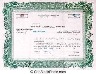 viejo, U, S, acción, certificado, 1919