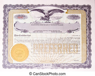 Old US Stock Certificate Eagle Medallion American - U.S....