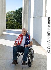 Patriotic Man in Wheelchair American Flag Blue Sky -...