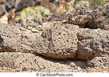 Closeup Basaltic Rock Gas Bubbles New Mexico - Basalt rock...