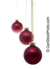 Pastel Red Christmas Balls Hanging Isolated - Christmas...