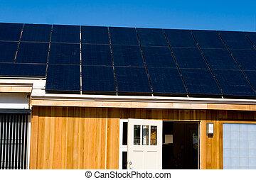Modern House Solar Photovoltaic Panels Blue Sky
