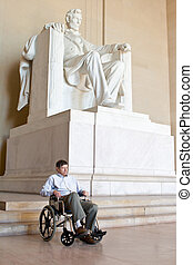 Disabled Senior Man Wheelchair Lincoln Memorial - Senior...