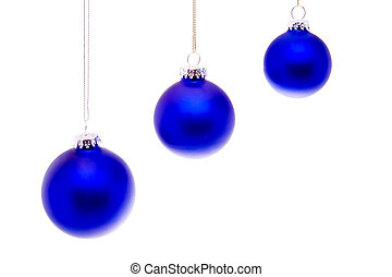 Row Close Up Blue Christmas Balls Hanging Isolated - Blue...