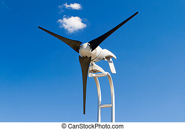 Home Sized Windmill Wind Turbine Isolated Blue Sky - Small...
