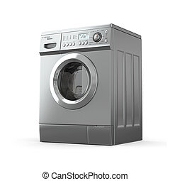Washing machine. 3d - Closed washing machine on white...