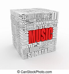 Music Abstract cube - Music The concept of the words on...