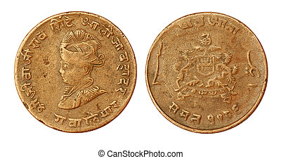 Old Indian coin of seventieth century inscribed the portrait...