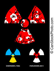 Sakura in the radiation symbol, design element