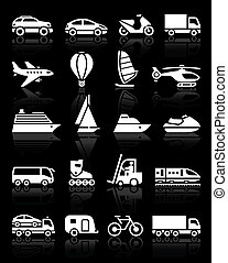 Set of simple transport icons with reflection, black...