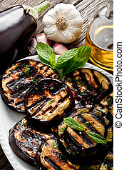 grilled eggplants seasoned with olive oil, garlic and mint