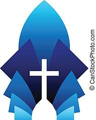Blue Cross - Vector illustration of blue cross symbol,...