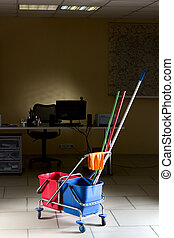 Office cleaning - Trolley with water backets and cleaning...