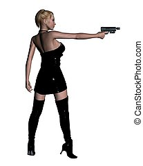 Female Assassin - Blonde female assassin in leather dress...