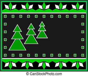 Christmas Card - New Years card in dark tones Green...