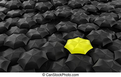 Umbrellas - Illustration of one yellow umbrella among many...