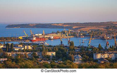 Top view over industrial port of Kerch, Crimea, Ukraine