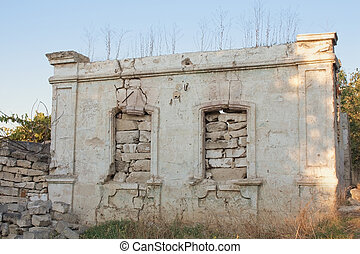 old abandoned wall with windows