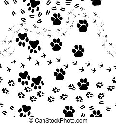 Animal footprint seamless pattern - Animal footprint...