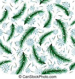 Winter snowflake and fir brunch seamless pattern.