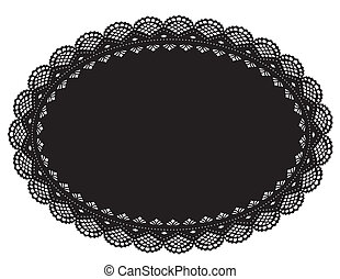 Lace Doily Placemat, Black - Vintage filigree lace doily for...